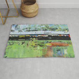 Salvation Green Abstract Contemporary Artwork Painting Rug