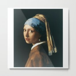 The Girl with a Pearl Earring Metal Print