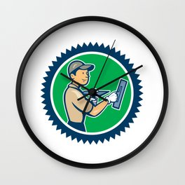 Plasterer Masonry Worker Rosette Cartoon Wall Clock