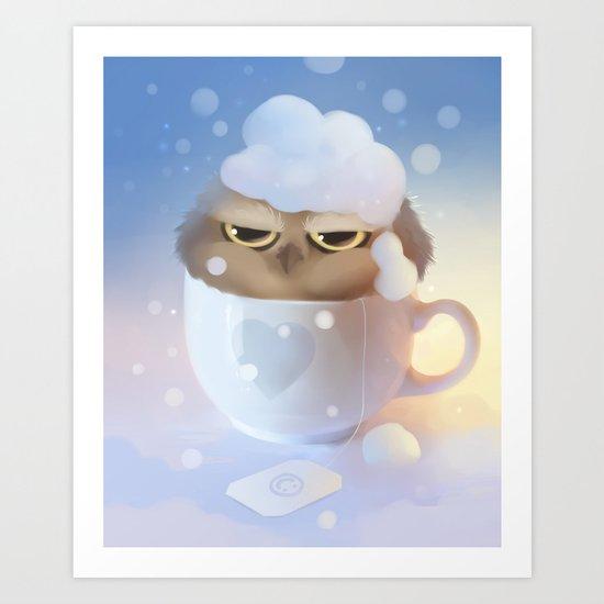 cup of owl Art Print