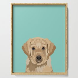 Labrador puppy pet portrait wall art and gifts for dog breed lovers Serving Tray