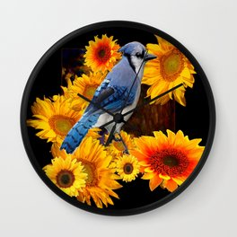 DECORATIVE BLUE JAY YELLOW SUNFLOWERS BLACK ART Wall Clock