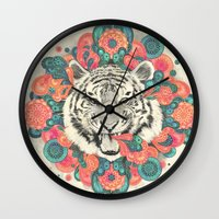 mandala Wall Clocks featuring bengal mandala by Laura Graves