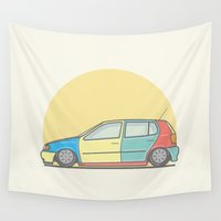 volkswagen Wall Tapestries featuring Volkswagen Polo 6n Harlequin vector illustration by Underground Worm