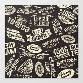 Sport rugby emblems pattern Canvas Print