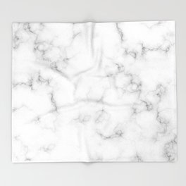 The Perfect Classic White with Grey Veins Marble Throw Blanket