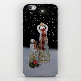 Starry Night Snowmen iPhone Skin
