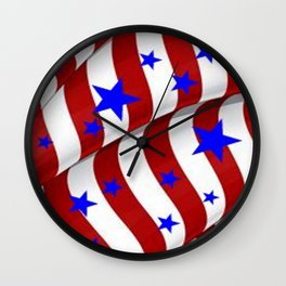 PATRIOTIC AMERICANA JULY 4TH BLUE STARS DECORATIVE ART Wall Clock