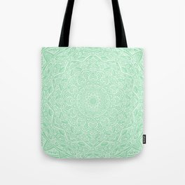 Most Detailed Mandala! Mint Green Color Intricate Detail Ethnic Mandalas Zentangle Maze Pattern Tote Bag