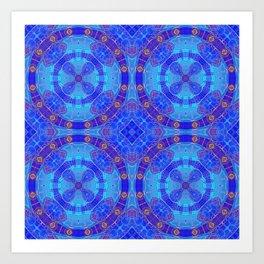 Glowing Blue Purple African Mandala Art Print