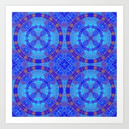 Glowing Blue Purple African Mandala Art Print
