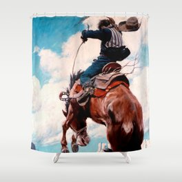 "Vintage Western Painting ""Bucking"" by N C Wyeth Shower Curtain"