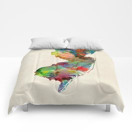New Jersey Watercolor Map Comforters