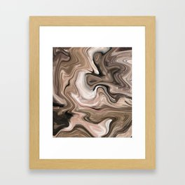 Brown beige watercolor marble Framed Art Print