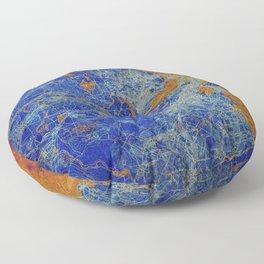 Boston Massachusetts 1893 colorful vintage old map. Orange and blue artwork Floor Pillow