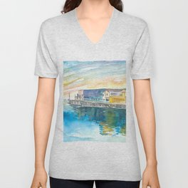 Monterey Bay California Cannery Row Waterfront Unisex V-Neck
