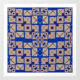 Retro Futuristic Modern Blue and Red Patchwork Geometry Art Print