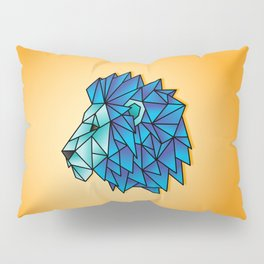 Triangular Abstract Lion in Shades of Blue Pillow Sham