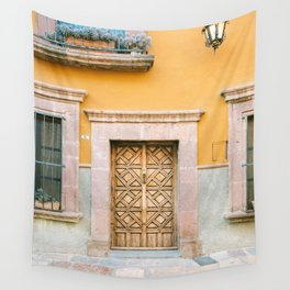 Orange and Turquoise   The San Miguel de Allende Mexico door collection   Travel photography print Wall Tapestry