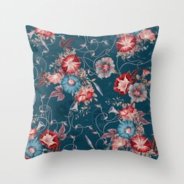 Moody Blue Floral Japanese Morning Glories Throw Pillow