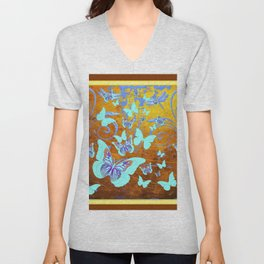 Coffee Brown Celadon Color Butterflies Abstract & Yellow Unisex V-Neck