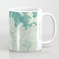 vintage map Mugs featuring Boston Map Blue Vintage by City Art Posters