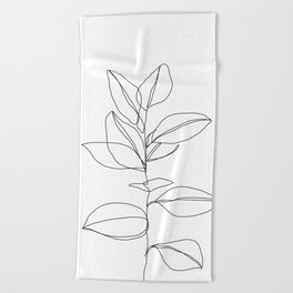 One line plant illustration - Dany Beach Towel