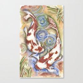 Koi Fish Watercolor Painting Canvas Print