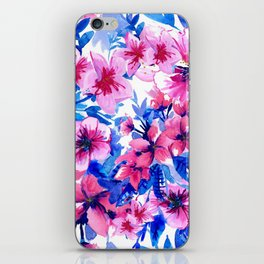 Floral Print Tropical Magenta iPhone Skin