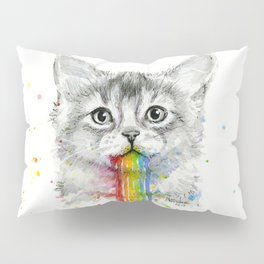 Kitten Puking Rainbows Cat Rainbow Vomit Pillow Sham