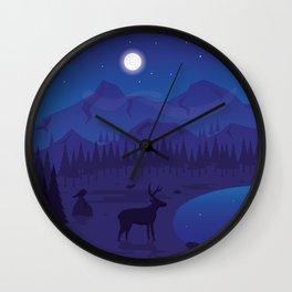 Night landscape Wall Clock