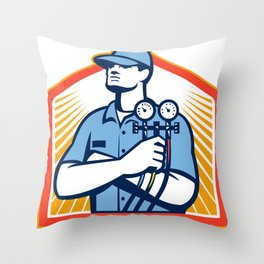 Refrigeration Air Conditioning Mechanic Front Throw Pillow