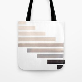 Grey Midcentury Modern Minimalist Staggered Stripes Rectangle Geometric Aztec Pattern Watercolor Art Tote Bag