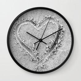 heart hand drawn in sand love sign beach Wall Clock