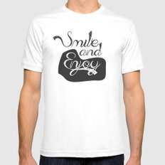 Smile and Enjoy White MEDIUM Mens Fitted Tee