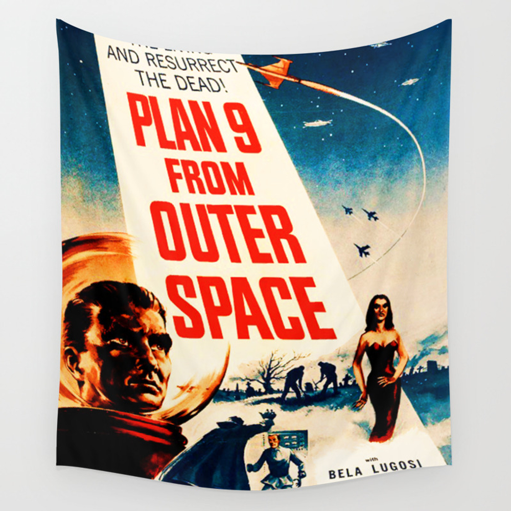 Plan 9 From Outer Space, Vintage Movie Poster Wall Tapestry by Alma_design TPS7728536
