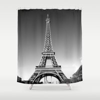 eiffel Shower Curtains featuring eiffel by Michelle Loidl