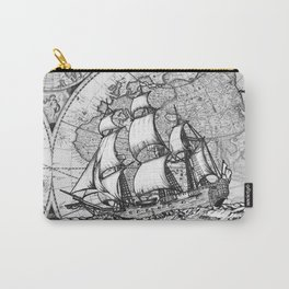 ship on a background map . black and white . keep moving forward Carry-All Pouch