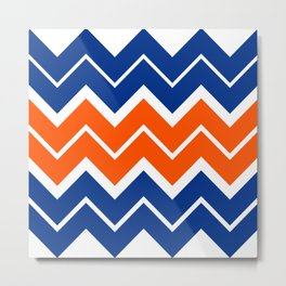 Big Chevron:  Blue + Orange Metal Print