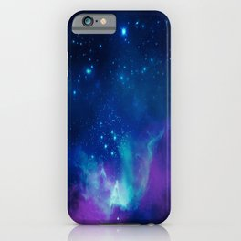 Violet And Blue Planetary Nebula - Fantasy Galaxy Space iPhone Case
