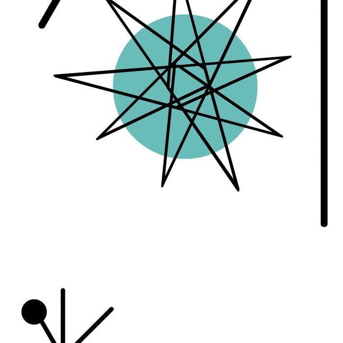 Mid Century Modern Sputnik Starburst Planets 1 Leggings