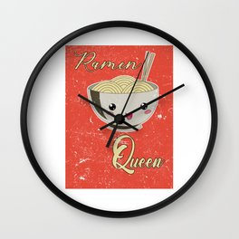 Ramen Queen Japanese Noodles Vintage Retro Style Wall Clock