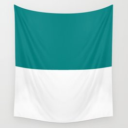 White and Dark Cyan Horizontal Halves Wall Tapestry