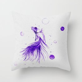 Siamese Fighting Fish in Ink Throw Pillow