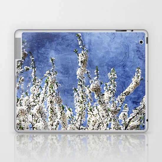 Cherry Blossoms on Blue Laptop & iPad Skin