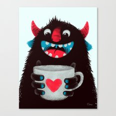 Demon with a cup of coffee (contrast) Canvas Print