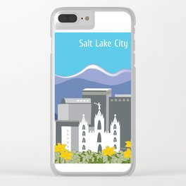 Salt Lake City, Utah - Skyline Illustration by Loose Petals Clear iPhone Case