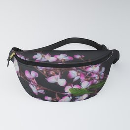 Red and White Flowers on Black Fanny Pack