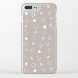 Pastel brown pink yellow Christmas snow flakes stars pattern Clear iPhone Case