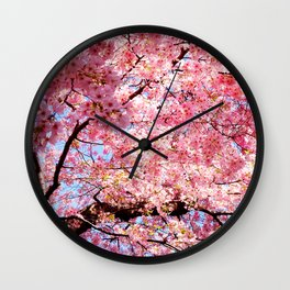 Magnifical Pink Tree Wall Clock